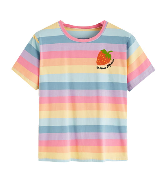 Strawberry Embroidered Women's Rainbow Striped Tee (small-large).