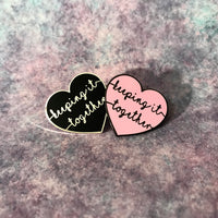 Keeping It Together Heart hard enamel pin. Pink or black.