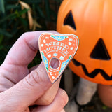 Weird Mother deluxe hard enamel pin. Black or mint. Ouija planchette. Halloween.