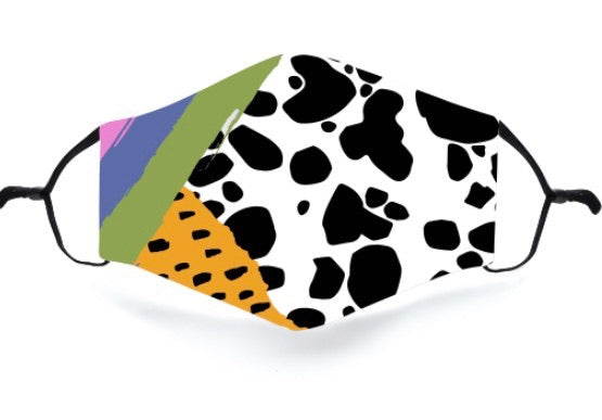 Cow print /leopard rainbow Face Mask with one insert