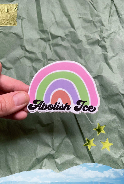 Abolish Ice rainbow 3 inch sticker