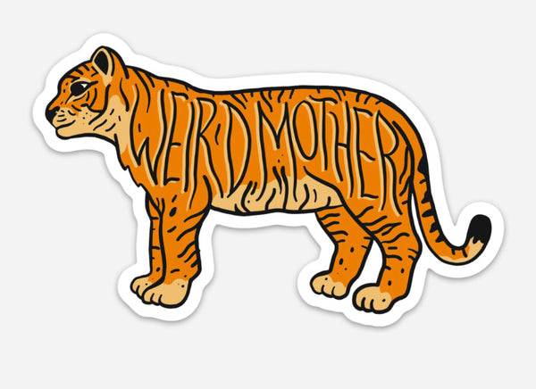 Weird Mother Tiger 5x3 inch sticker