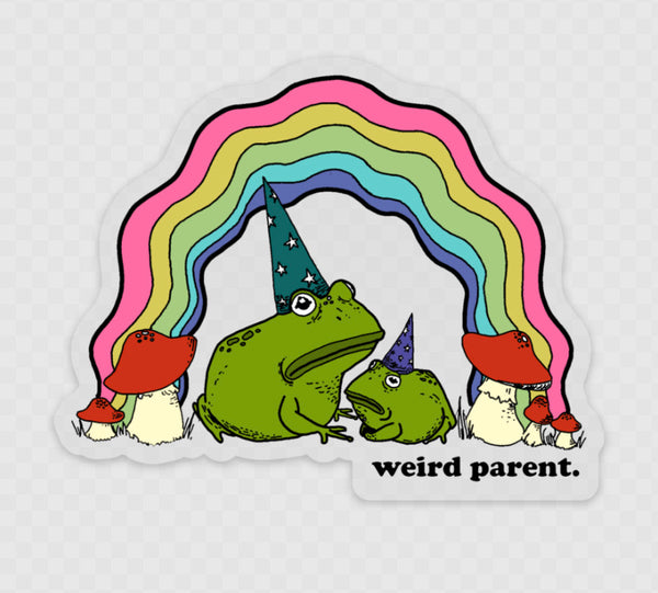 Weird Parent Frog and Child clear and pigment sticker (large 4 inches).