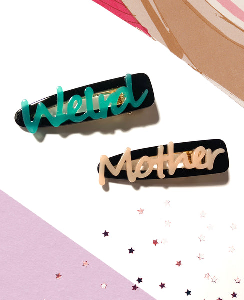Weird Mother Hair Pin Clip Set / Barrettes (Plastic)