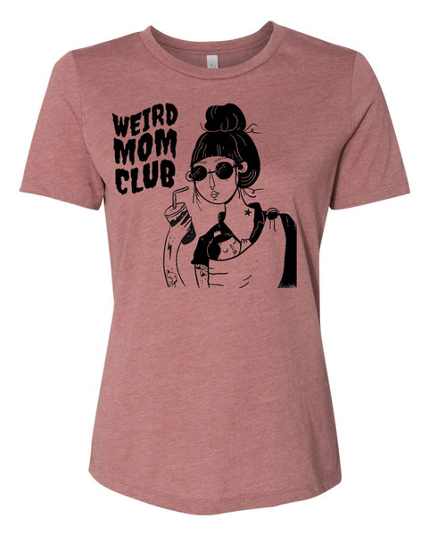 No Tat Chat on Women's Relaxed Short Sleeve Jersey Tee in Heather Mauve