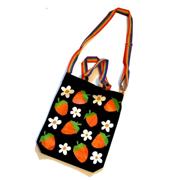 Strawberry and Daisy Tote Bag with Rainbow Nylon Strap