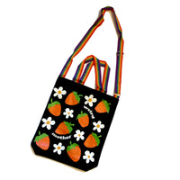 Weird Mother Strawberry and Daisy Tote Bag with Rainbow Nylon Strap