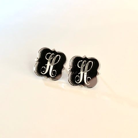 Clear/Silver Mirrored Initial Earrings