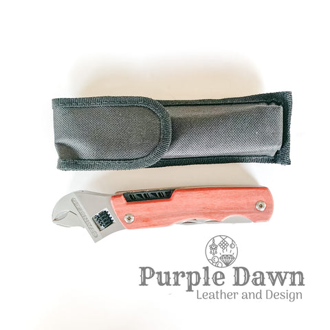 "6 1/2"" Wrench Multi-Tool with Rosewood Handle & Bag"