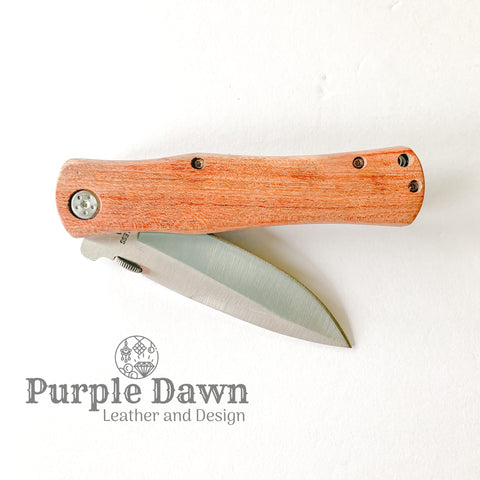 "4 1/2"" Rosewood Handle Folding Knife"