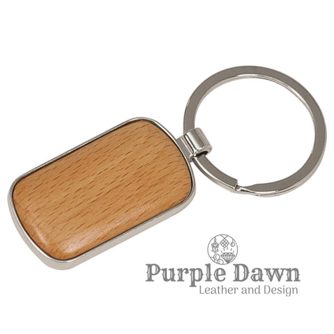 "1"" x 1 3/4"" Wood Keychain"