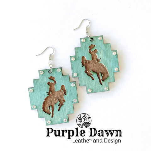 Turquoise Bronc Wood Earrings