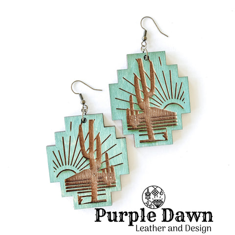 Turquoise Cactus Wood Earrings