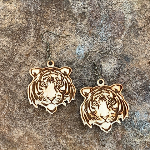 Wood Tiger Mascot Earrings - Dangle