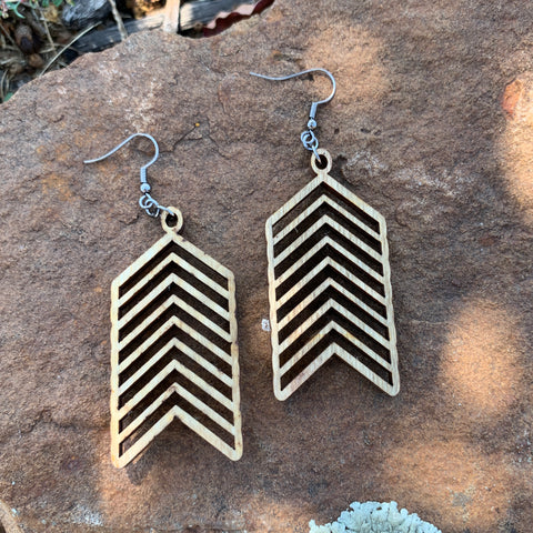 Wood Geometric Arrow Earrings