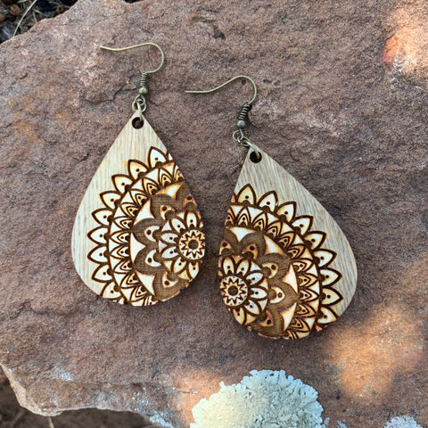 Wood Mandala Earrings