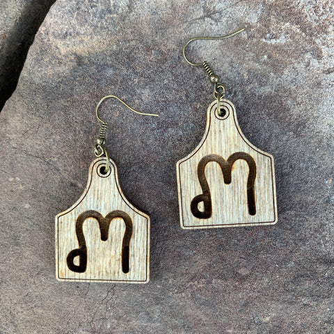 Brand Cow Tag Earrings