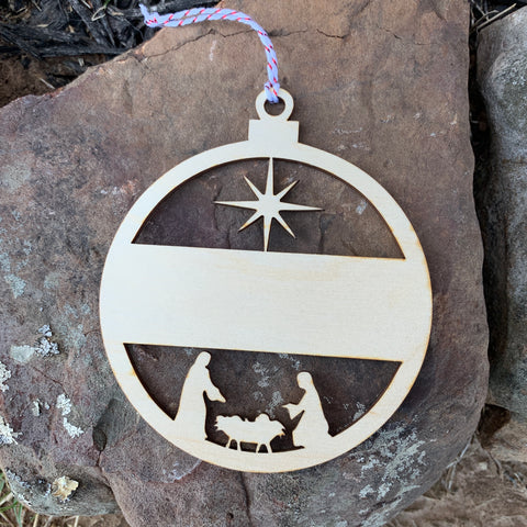 Wood Manger Ornament #1