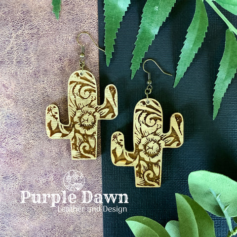 Cactus Earrings - Wood