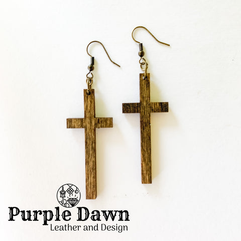 Wood Cross Earrings - 4 colors!