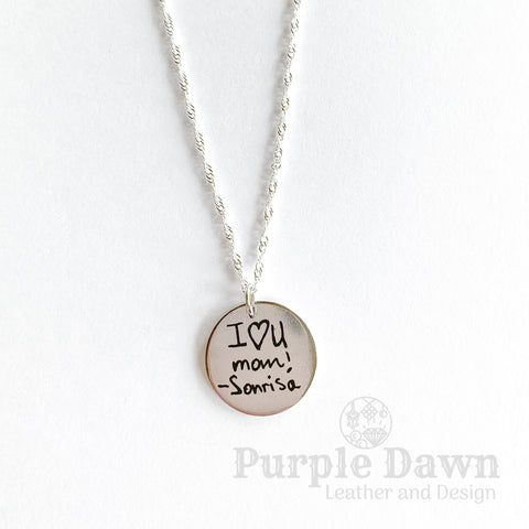 Handwritten Pendant - Stainless Steel