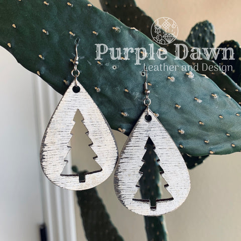 Christmas Tree Wood Earrings