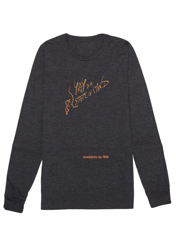 Long-Sleeve Tee: YAY is a STATE of MIND - Dark Grey Heather