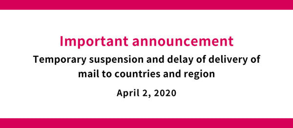 Temporary suspension and delay of delivery of mail to countries and region