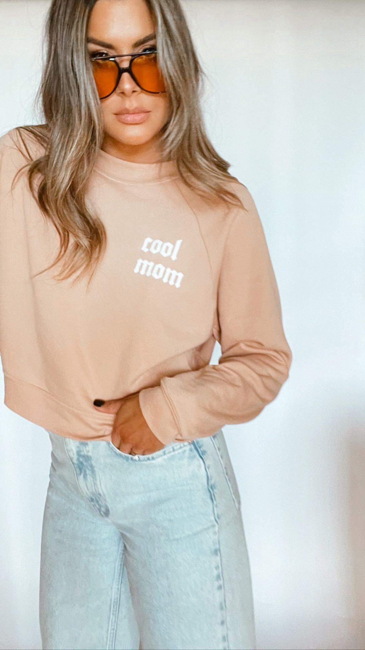tan mid length cool mom sweatshirt