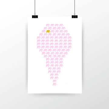 'Herd of Hope' Limited Edition Artwork - Baby Pink/Gold