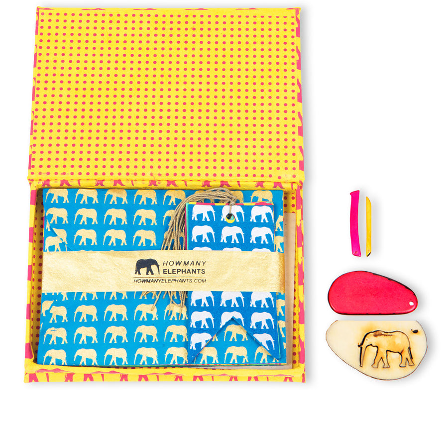 Yellow & Hot Pink Elephant Correspondence Set