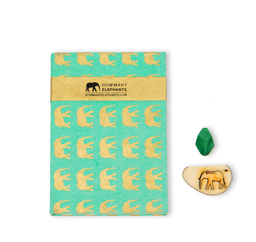 Mint Green & Gold Elephant Conservation Writing Set