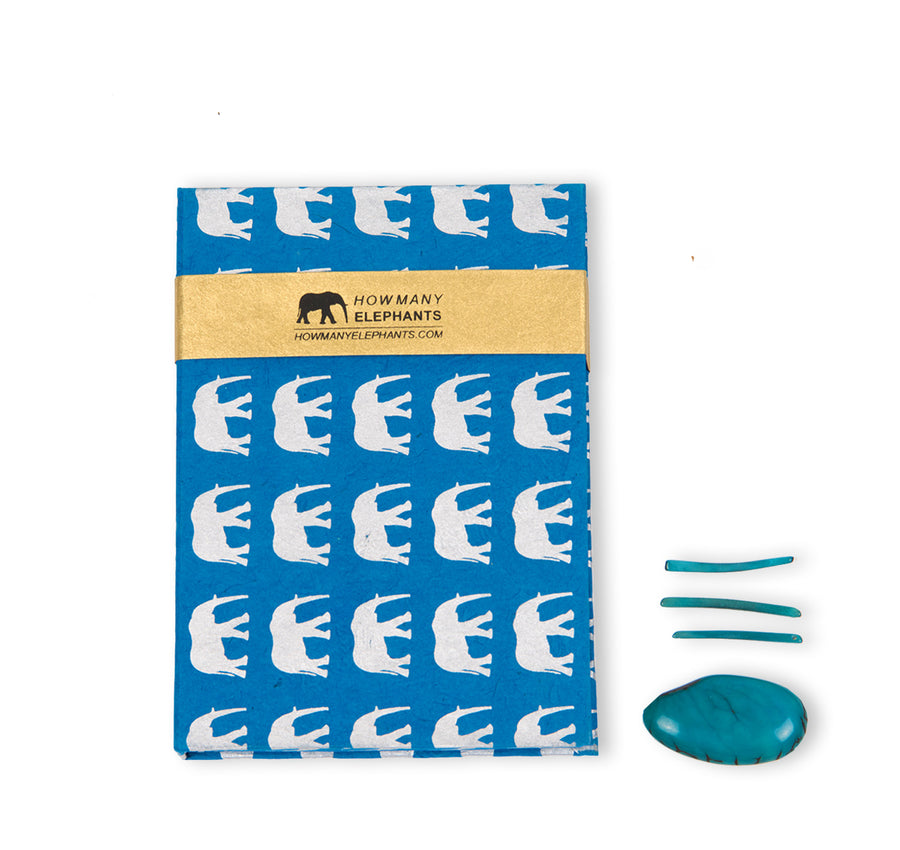 Blue & Silver Elephant Conservation Writing Set