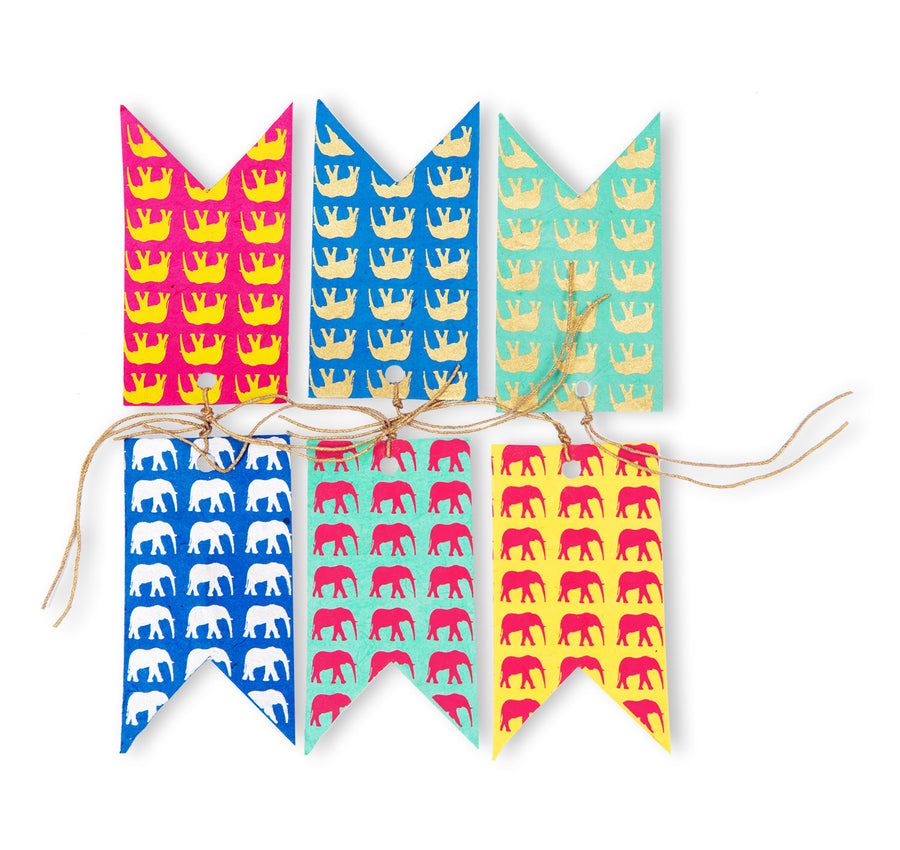 Multi-coloured Elephant Conservation Gift Tags