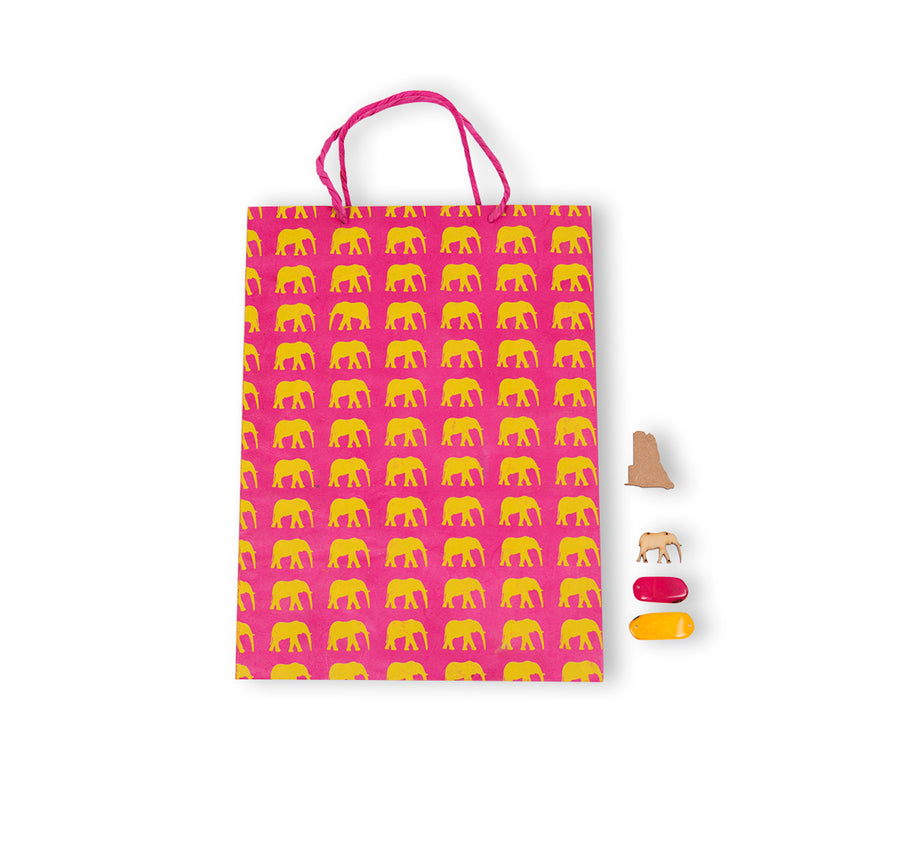 Hot Pink & Yellow Elephant Conservation Gift Bag