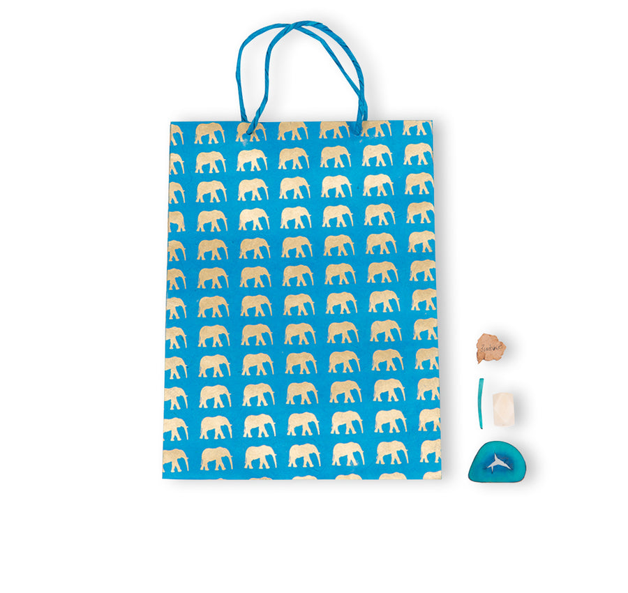 Azure Blue & Gold Elephant Gift Bag (large)