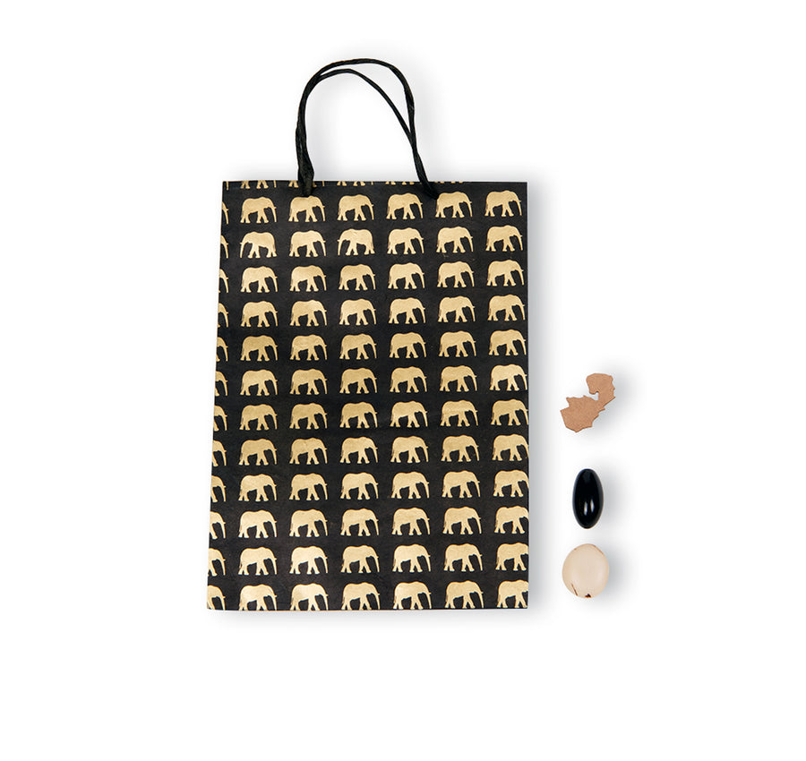 Black & Gold Elephant Conservation Gift Bag