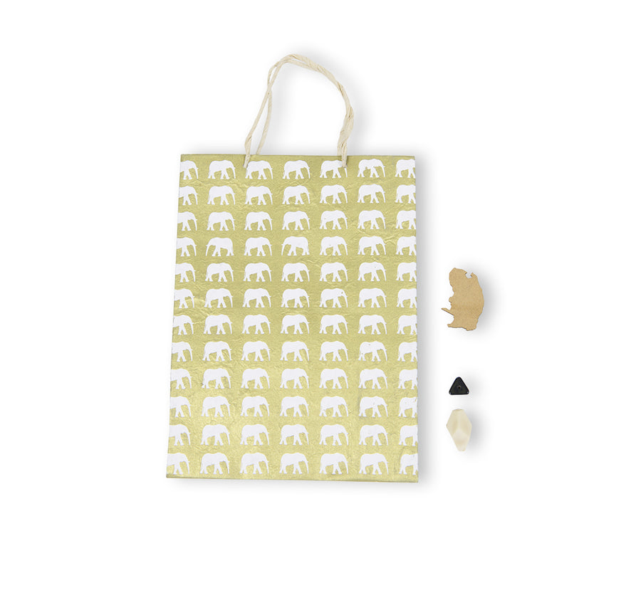 Gold & White Elephant Conservation Gift Bag