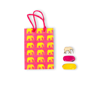 Hot Pink & Yellow Elephant Conservation Greeting Bag