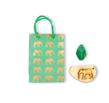 Mint Green & Gold Elephant Conservation Gift Bag