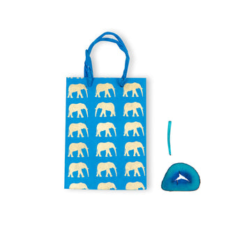 Blue & Gold Elephant Conservation Tall Gift Bag