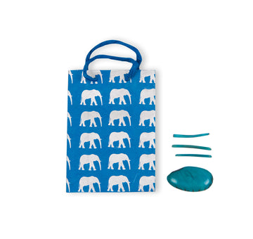 Azure Blue & Silver Elephant Gift Bag