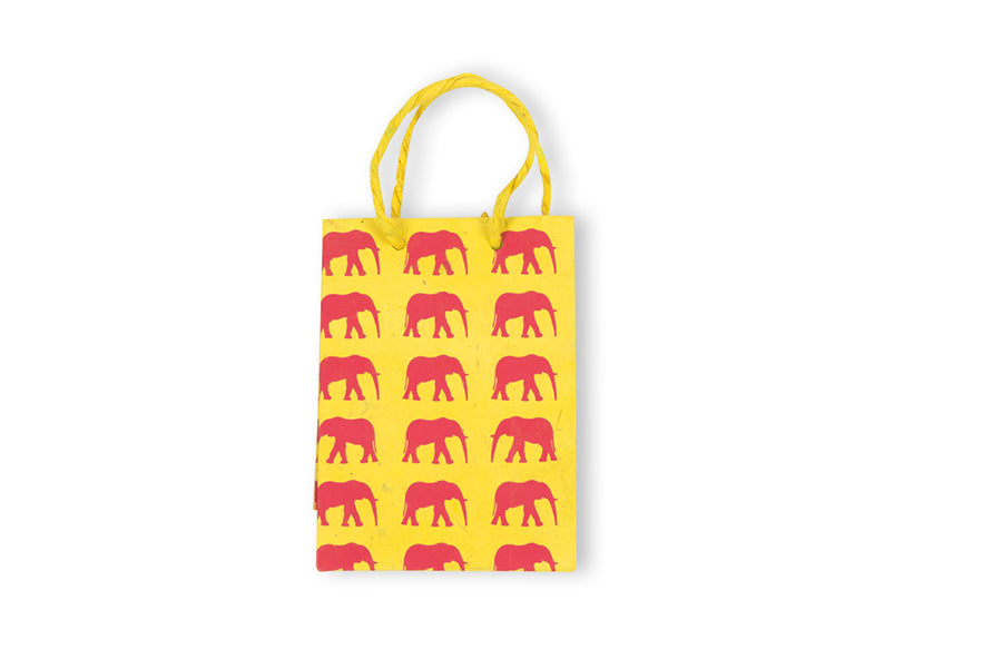 Yellow & Hot Pink Elephant Conservation Gift Bag