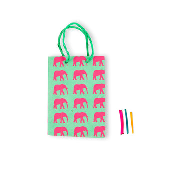 Mint Green & Rose Elephant Conservation Gift Bag
