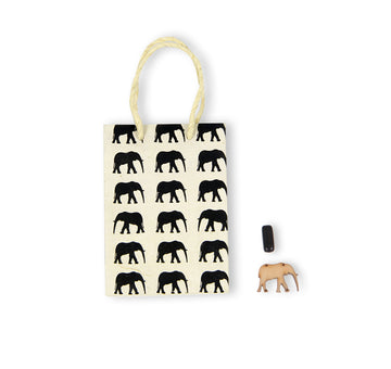 Natural & Black Elephant Conservation Gift Bag