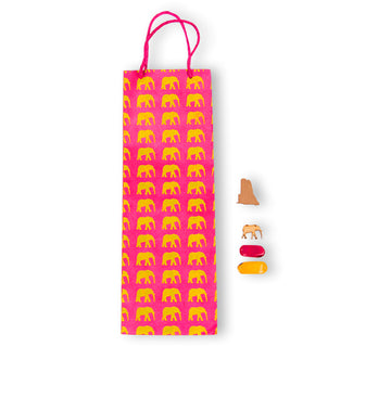 Hot Pink & Yellow Elephant Gift Bag (Tall)
