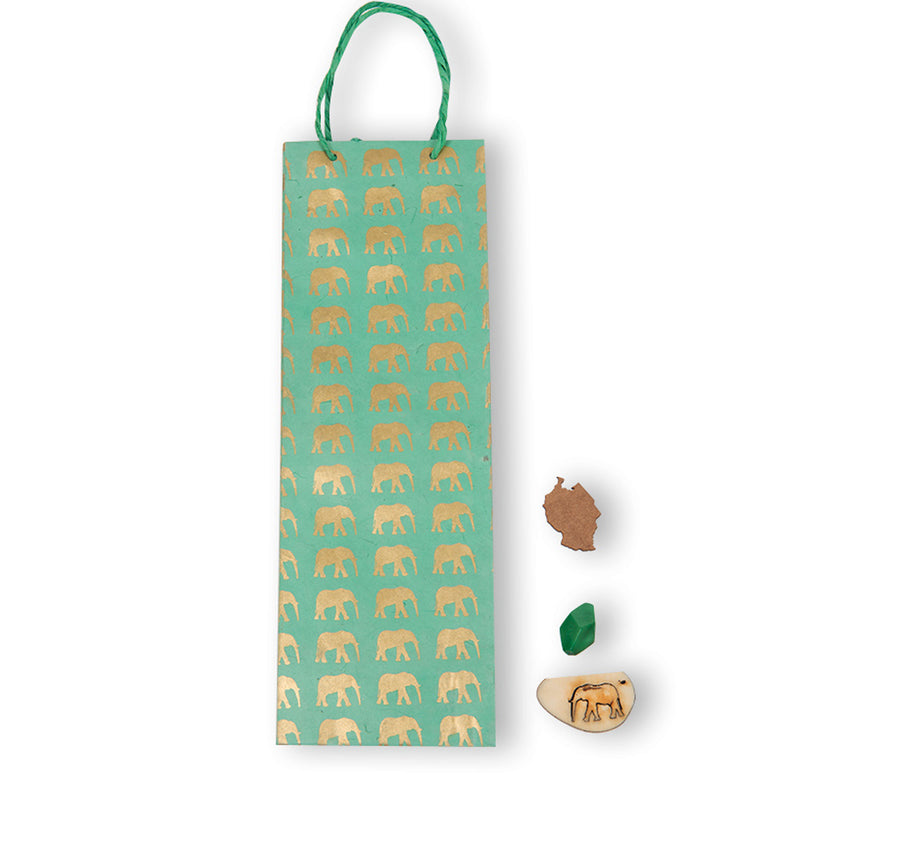 Mint Green & Gold Elephant Gift Bag (Tall)