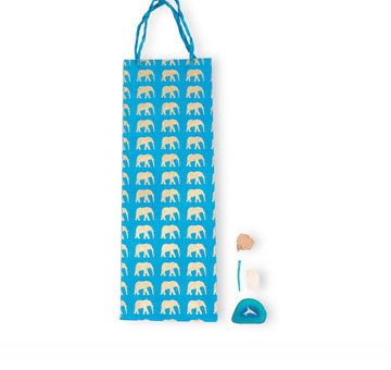 Blue & Gold Elephant Gift Bag (Tall)