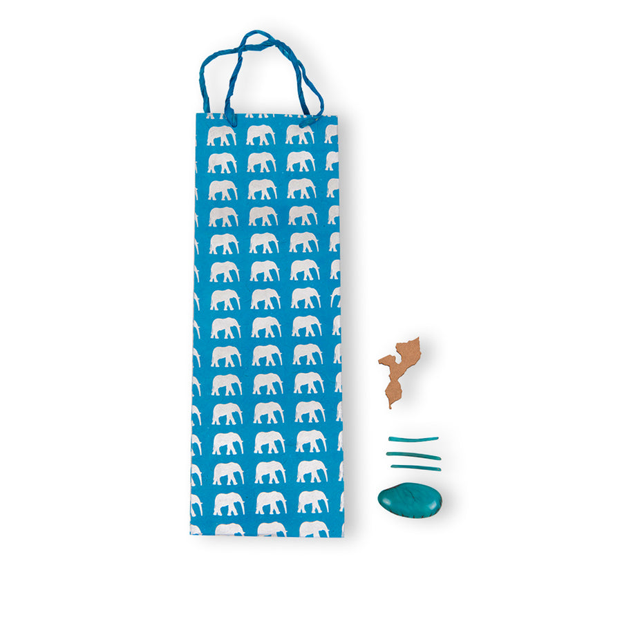 Blue & Silver Elephant Gift Bag (Tall)