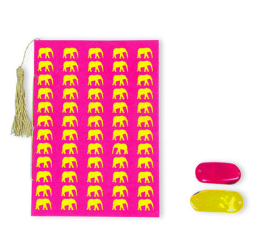 Hot Pink & Yellow Elephant Conservation Greeting Card